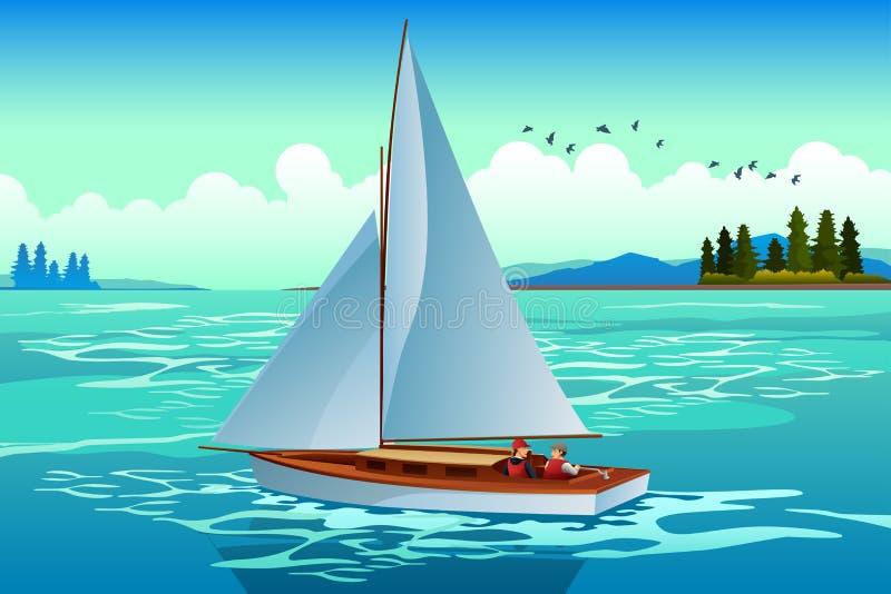 Gente que navega en el mar ilustración del vector