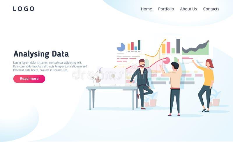 Gente que obra recíprocamente con las cartas y que analiza estadísticas Concepto de la visualización de los datos del vector Ilus stock de ilustración