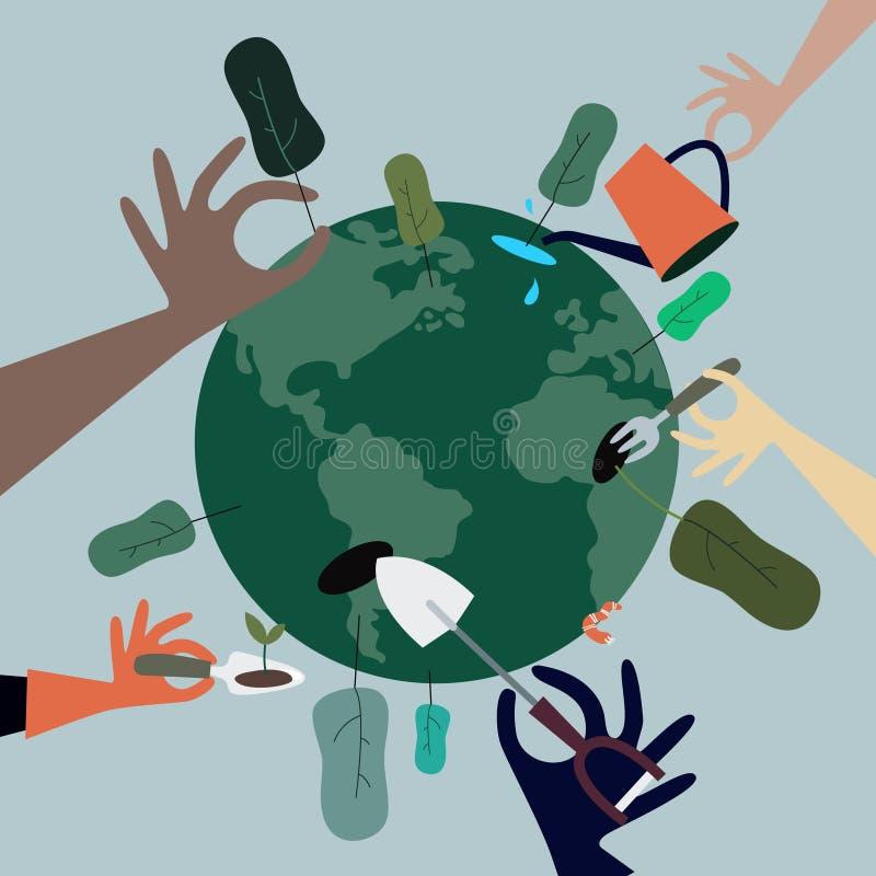 Gente que planta los árboles todos en todo el mundo ejemplo libre illustration