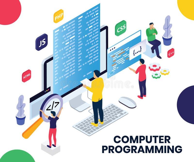 Gente que programa en un ordenador portátil para hacer página web concepto isométrico de las ilustraciones stock de ilustración