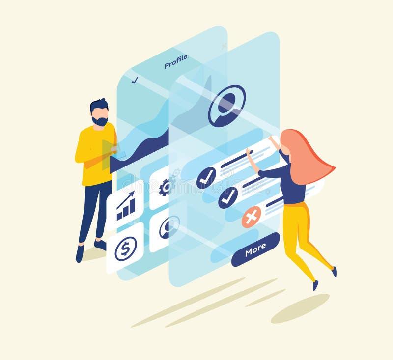 Gente que prueba el interfaz y la utilidad de una aplicación móvil Concepto de aterrizaje de la página Consiga las recompensas co libre illustration