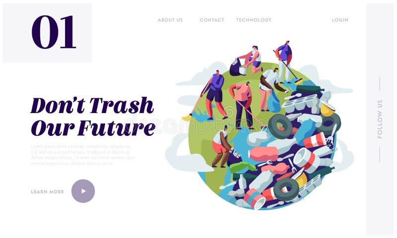 Gente que quita basura del planeta Caracteres que limpian la superficie de tierra con los rastrillos Reciclaje y ecología, conce libre illustration