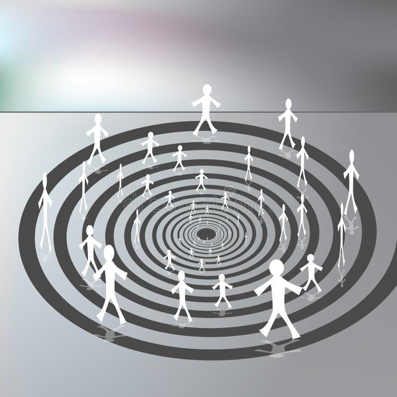 Gente que recorre en un camino espiral hacia abajo ilustración del vector
