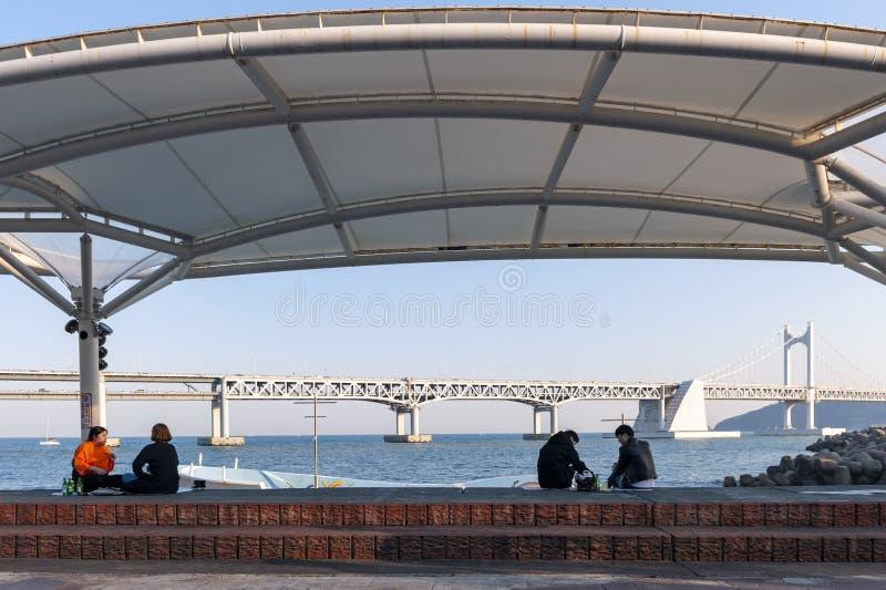 Gente que relaja y que disfruta de la opinión el puente o Diamond Bridge de Busán Gwangandaegyo en el parque de la orilla del agu imágenes de archivo libres de regalías