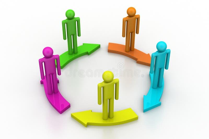 Gente que se coloca en círculo de la flecha ilustración del vector