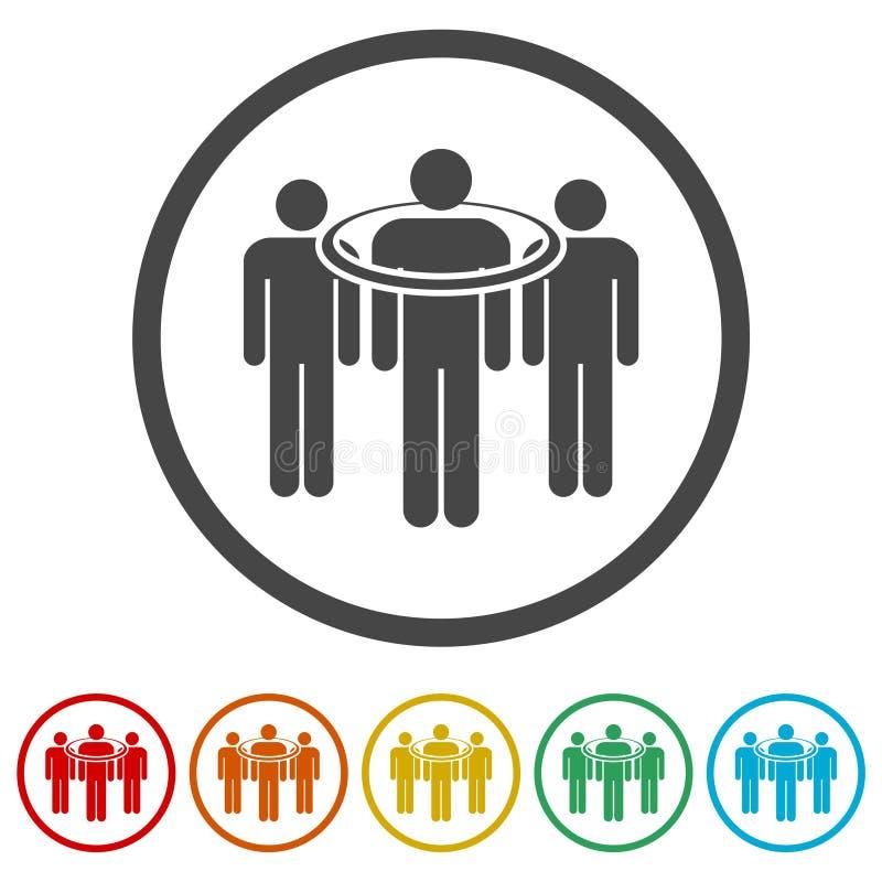 Gente que se coloca, iconos apuntados del consumidor fijados stock de ilustración