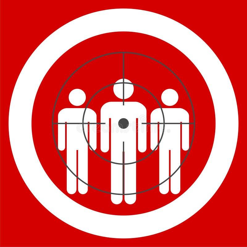 Gente que se coloca, rojo apuntado del consumidor ilustración del vector