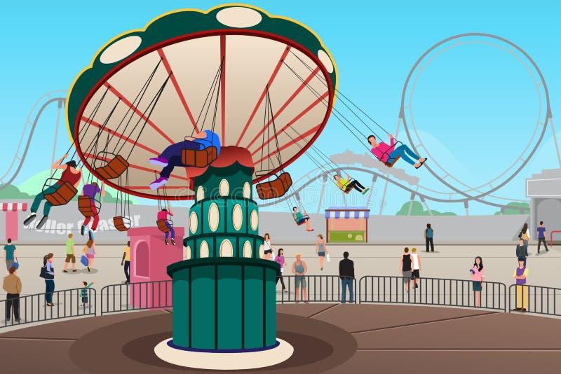 Gente que se divierte en parque de atracciones libre illustration