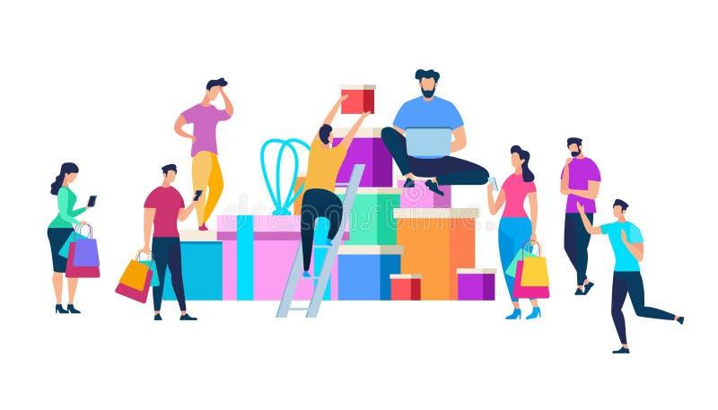 Gente que se mueve alrededor del montón enorme de las cajas de regalo libre illustration