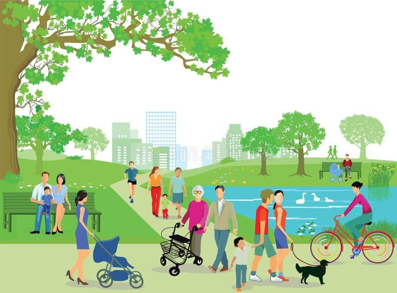 Gente que se relaja en el parque libre illustration