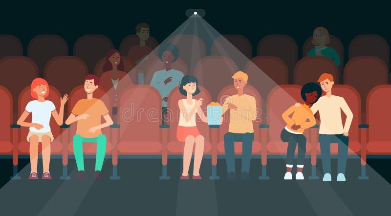Gente que se sienta en estilo de la historieta del pasillo del cine stock de ilustración