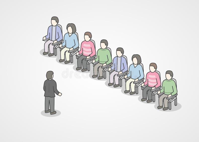 Gente que se sienta en sillas en la audiencia Presidente que hace la presentación y el entrenamiento profesional sobre el márketi ilustración del vector