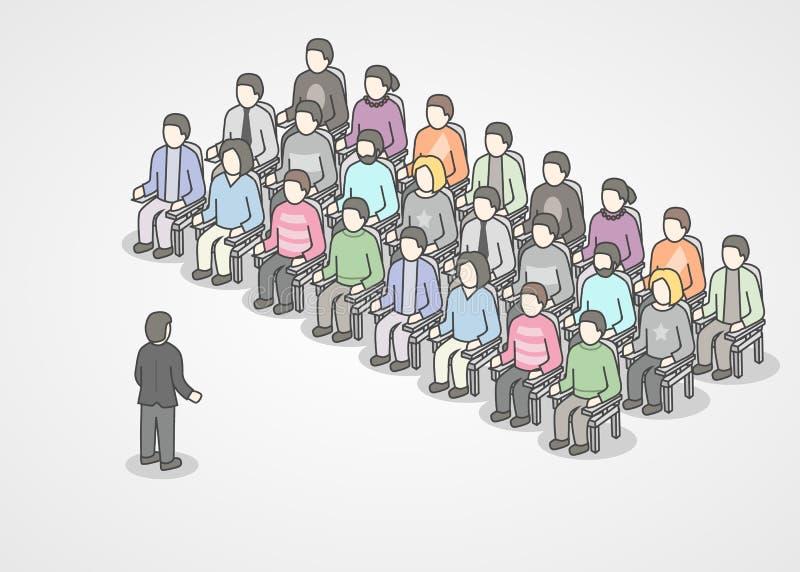 Gente que se sienta en sillas en la audiencia Presidente que hace la presentación y el entrenamiento profesional sobre el márketi stock de ilustración
