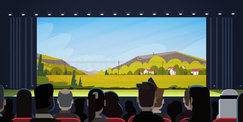 Gente que se sienta en vista posterior trasera de observación de la película del cine ilustración del vector
