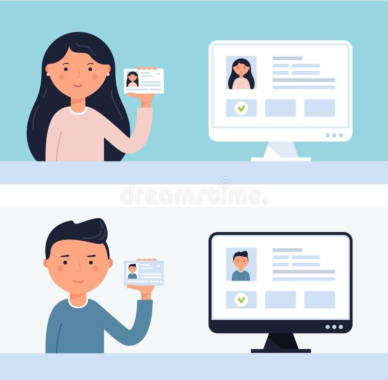 Gente que soporta tarjetas de la identificación Ejemplo del vector de la verificación de la cuenta stock de ilustración