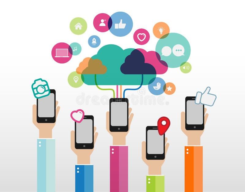 Gente que sostiene sus teléfonos que conectan con la computación de la nube stock de ilustración