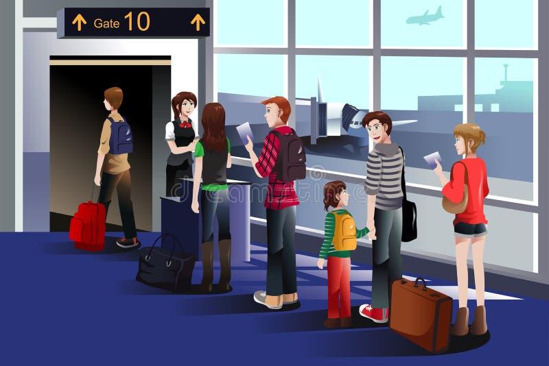 Gente que sube al aeroplano en la puerta ilustración del vector