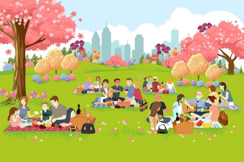 Gente que tiene comida campestre en el parque durante la primavera ilustración del vector