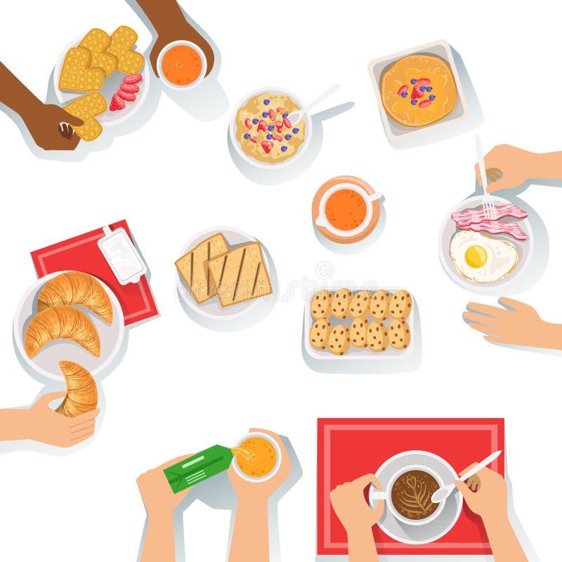 Gente que tiene comida de la mañana del desayuno así como diversos sistemas de bebidas y del ejemplo de la historieta de la comid ilustración del vector