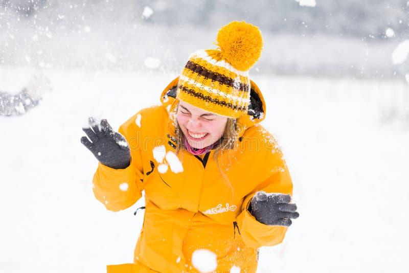 Gente que tiene invierno de la diversión fotos de archivo