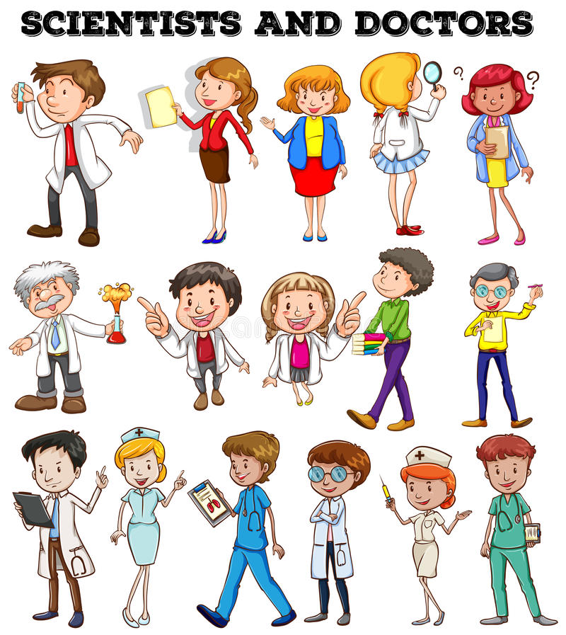 Gente que trabaja como científicos y doctores libre illustration