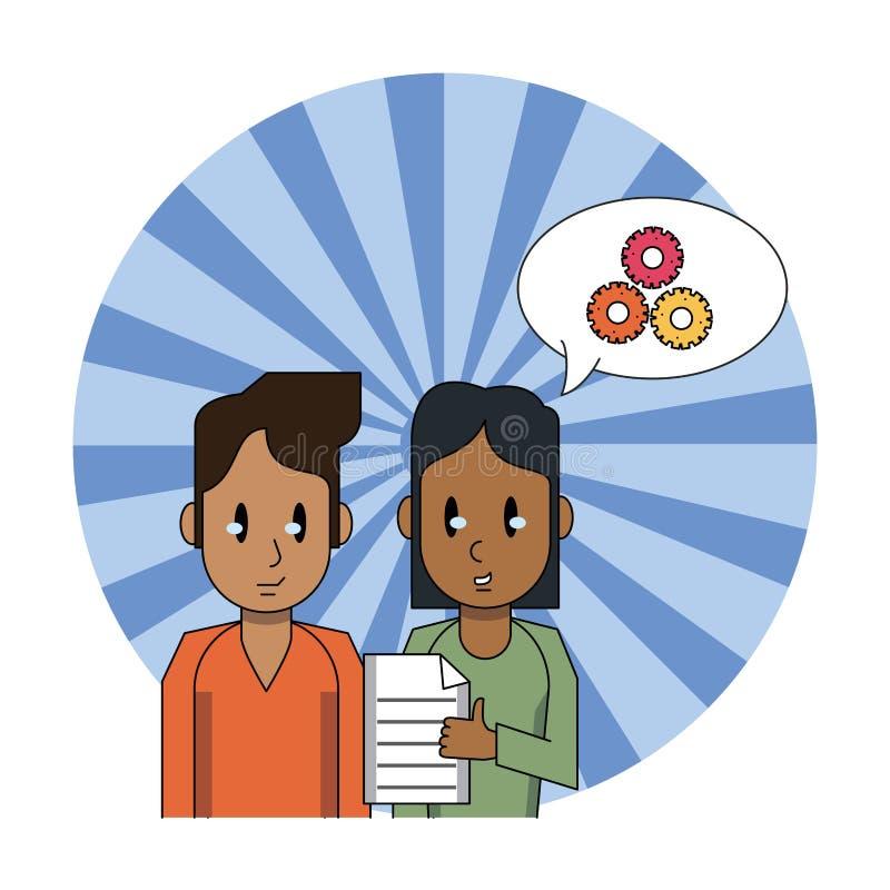 Gente que trabaja con el documento libre illustration