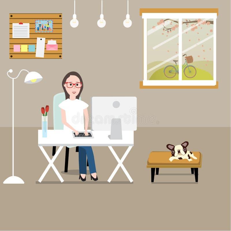 Gente que trabaja en casa como un freelancer o trabajo remoto illustrati stock de ilustración