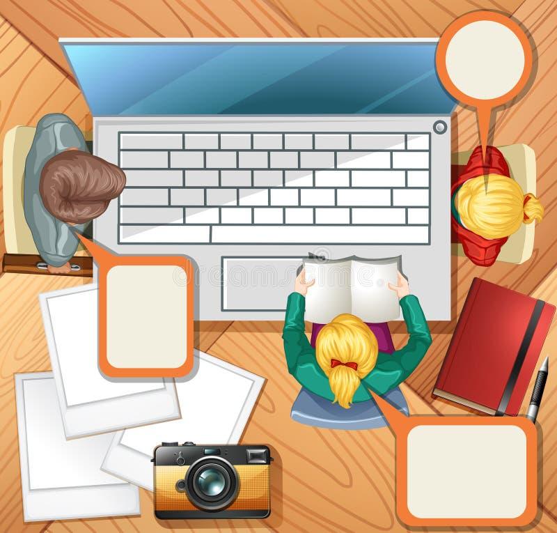 Gente que trabaja en el ordenador libre illustration