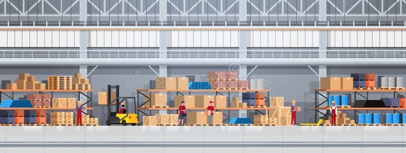 Gente que trabaja en la caja de elevación de Warehouse con la carretilla elevadora Bandera horizontal de entrega del concepto log ilustración del vector