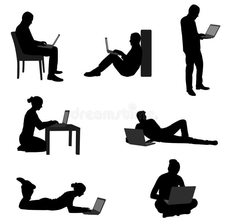 Gente que trabaja en sus ordenadores portátiles stock de ilustración