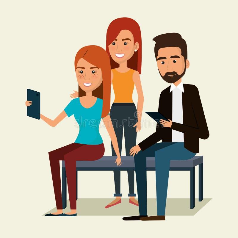 Gente que usa caracteres del smartphone stock de ilustración