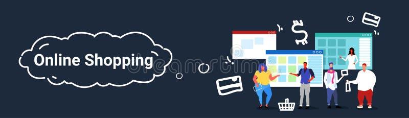 Gente que usa a los clientes en línea de las mujeres de los hombres del concepto de las compras del mercado de la aplicación info ilustración del vector