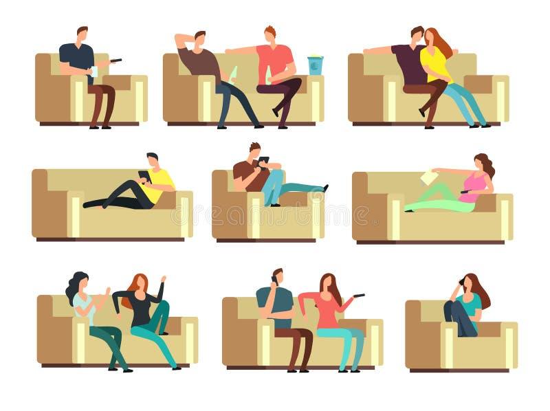 Gente que ve la TV, descansando con el teléfono, snacking en el sofá Caracteres en sistema del vector del día de fiesta stock de ilustración