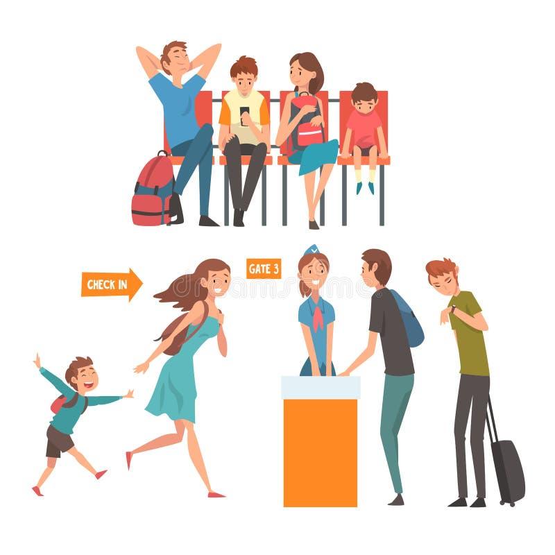 Gente que viaja en sistema del aeropuerto, pasajeros que esperan vuelo en el terminal y que se colocan en el vector del mostrador libre illustration
