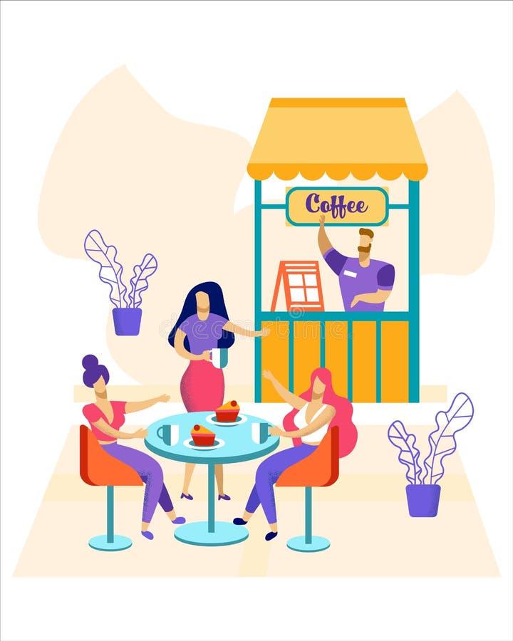 Gente relajada que se sienta en las tablas en el café al aire libre stock de ilustración