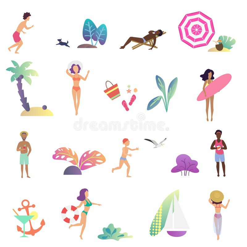 Gente relajante del verano y pasatiempo en los iconos de la playa del océano fijados Vector plano del diseño de la pendiente mode stock de ilustración