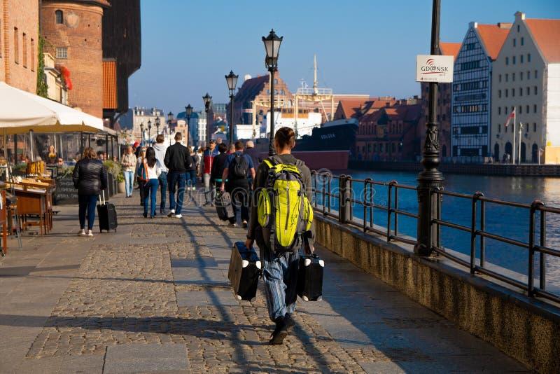 Gente sconosciuta che cammina sulla parte storica di Danzica Polonia 2018/September fotografie stock