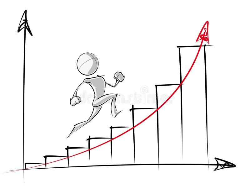 Gente semplice - grafico di crescita esponenziale illustrazione di stock