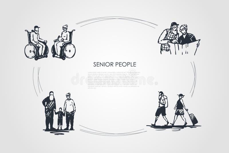 Gente senior - gente anziana che si siede sulle sedie a rotelle, giornale della lettura, viaggiante e camminante con l'insieme di illustrazione di stock