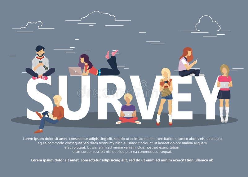 Gente sentada en un portátil grande Sitio web de redes sociales Ilustración conceptual del surf en la que los jóvenes utilizan lo ilustración del vector