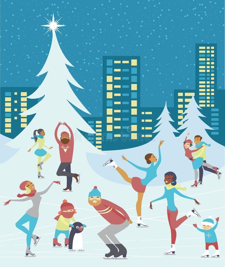 gente skaiting en pista de hielo del invierno en el centro de ciudad libre illustration