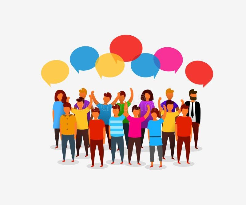 Gente social colorida de la red con las burbujas del discurso Establecimiento de una red del negocio y concepto sociales de la co ilustración del vector