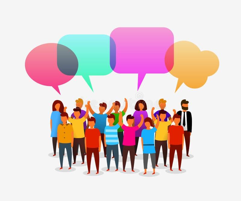 Gente social colorida de la red con las burbujas del discurso Establecimiento de una red del negocio y concepto sociales de la co libre illustration