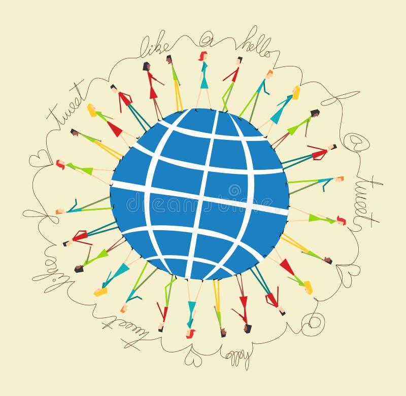 Gente social global de los media libre illustration