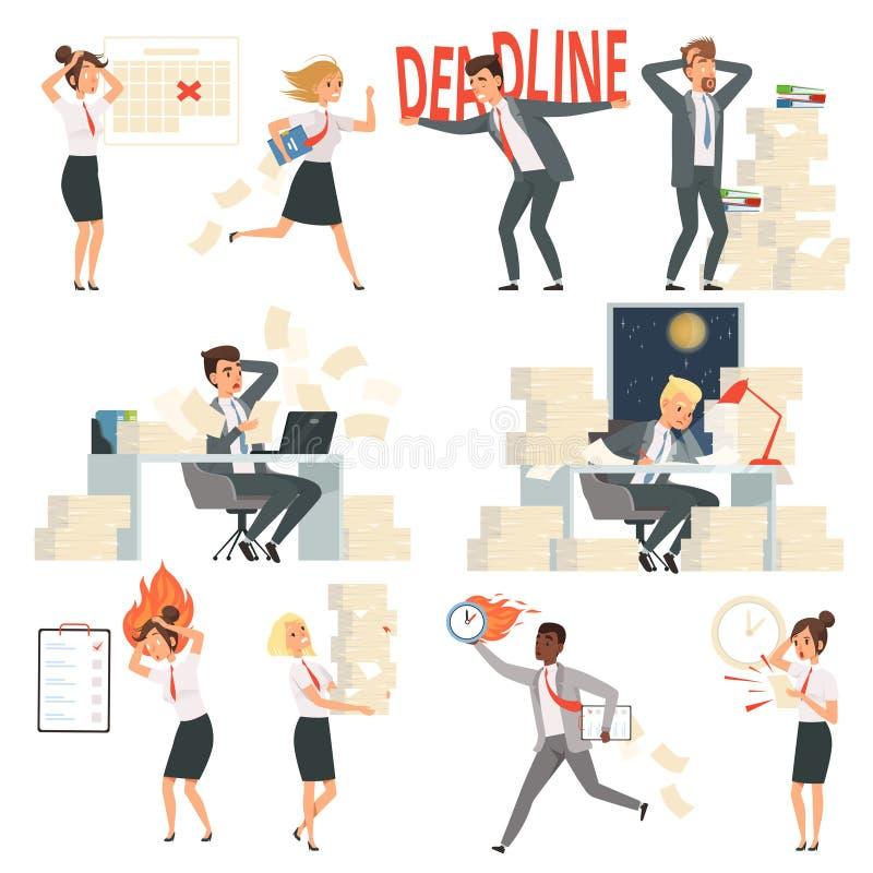 Gente sollecitata dell'ufficio Personaggi dei cartoni animati occupati di vettore dei lavoratori di notte dei direttori aziendali royalty illustrazione gratis