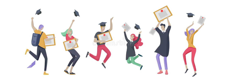 Gente sonriente de los graduados del grupo en los vestidos de la graduación que celebran los diplomas y el salto feliz Concepto d stock de ilustración