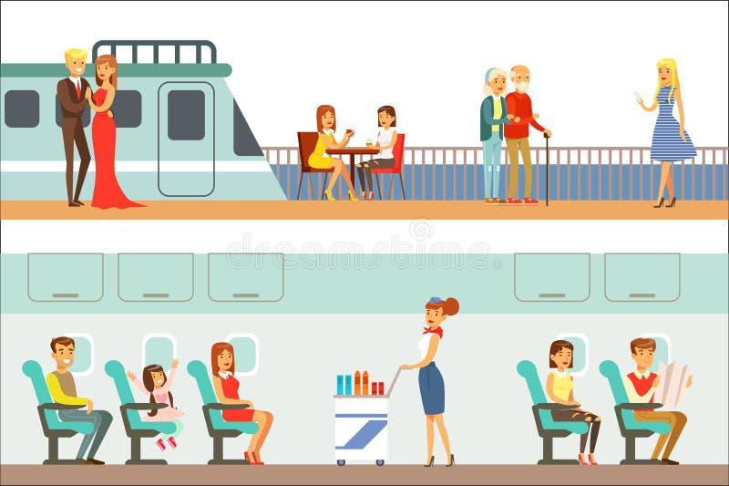 Gente sonriente que toma diverso sistema del transporte, del metro, del avión y de la nave de escenas de la historieta con los vi ilustración del vector