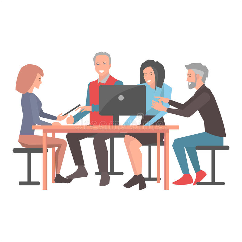Gente sorridente che si siede alla Tabella con il computer portatile nero illustrazione di stock