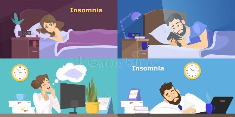 Gente subrayada que sufre del sistema del insomnio ilustración del vector