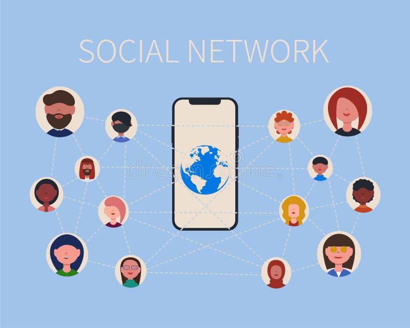Gente, teléfono y planeta sociales de la red libre illustration